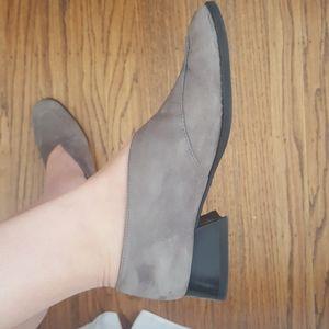 Arche Block Heel Loafers Gray Nubuck 38 7-7.5
